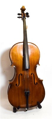 Lot 3003 - Cello 29 3/4'' two piece plywood back, labelled 'Imported by Leslie Sheppard (Foreign)' and...