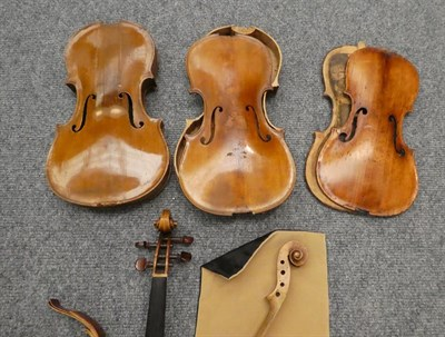 Lot 3004 - Three Violin Bodies in various states of dissassembly, with some accessories and a small...
