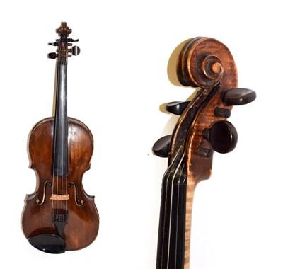 Lot 3007 - Violin 13 15/16'' one piece back, branded on back 'G.B.G' in rectangular box, handwritten label...