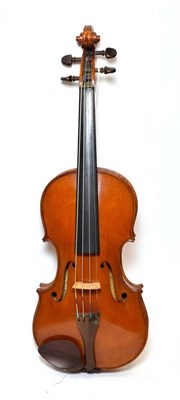Lot 3009 - Violin 13 7/8'' two piece back by John Mather, labelled 'John Mather Harrogate 1989 no.17' cased