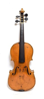 Lot 3011 - Violin 14 1/4'' two piece back, no label, has some repairs to scroll cheeks (cased)