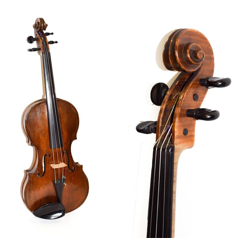 Lot 3013 - Violin 14 1/8'' one piece back, labelled 'Charotte Millot ** Mirecourt'