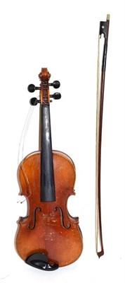 Lot 3014 - Violin 14 1/8'' two piece back, ebony fingerboard, labelled 'Antonius Stradavarius Cremonisis'...