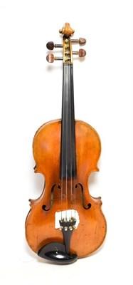 Lot 3016 - Violin 14 1/8'' two piece back, ebony fingerboard, labelled 'Nicolaus Amartus Cremonen...