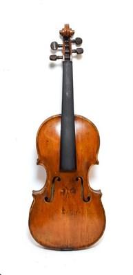 Lot 3020 - Violin 14'' two piece back, ebony fingerboard, no label, shows evidence of head/neck graft...