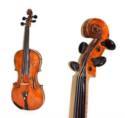 Lot 3022 - Violin 14'' two piece back, with illegible label