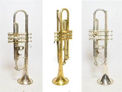 Lot 3028A - Trumpet with rotor valve stamped 'A' and 'Bb', bell engraved 'The Regent The British Band...