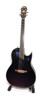 Lot 3029 - Aria Electro-Acoustic Guitar plastic bowl back, single cut away, slotted sound hole, Fishman...