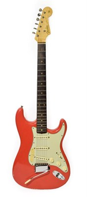 Lot 3035 - Fender Stratocaster Guitar (1962) serial no.87362, red body with cream scratchplate, three way...