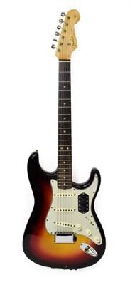 Lot 3036 - Fender Stratocaster Guitar (1963) serial no.L17506 on four screw plate, black sunburst finish...