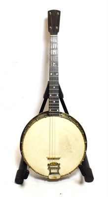 Lot 3041 - Banjo 4 string, 18 frets, 11'' head, headstock stamped 'The Windsor Tenor Popular Model 3',...
