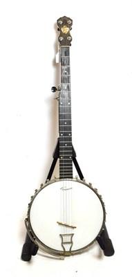 Lot 3043 - Banjo 5 string, 22 frets, 11'' head, headstock with plaque 'John Grey & Sons London' hoopstick...