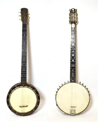 Lot 3044 - Banjo five string, 10 1/2'' head, open back, 31 lugs, various mother-of -pearl inlay shapes to next
