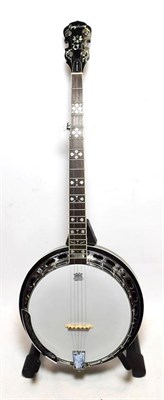 Lot 3045 - Epiphone By Gibson Five String Banjo 11'' head, 22 frets, last fret inlayed 'Masterbuilt',...
