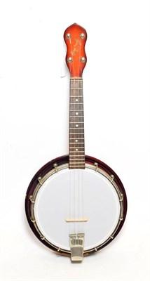 Lot 3047 - Ukelele Banjo, 8 1/2'' head, 16 fret, stamped 'George Formby', wooden resonator, rear of...