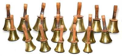 Lot 3049 - Handbells Set Of 19 lowest 6 1/2'' diameter C, D, E (with crack), F, 2xG (one damaged), A, B, C, D