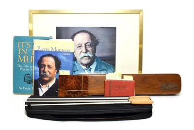 Lot 3050 - Pierre Monteux Related Items including autograph in book, books, framed picture and three...