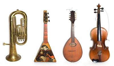 Lot 3051 - Various Instruments Flat back mandolin, no label, 17 frets, numerous cracks; Student violin Skylark