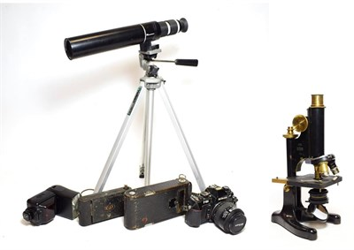 Lot 3061 - Beck (London) Model 22 Microscope no.1066, with three lens turret (cased) together with Bergeon...