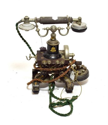 Lot 3062 - Ericsson 'Eiffel Tower' Desk Telephone, circa 1900, with cast iron shaped base, nickel-plated...