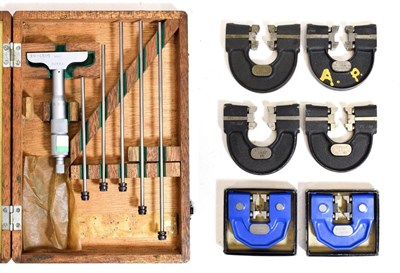 Lot 3070 - Mitutoyo Micrometer Depth Gauge Set 0.01mm with five extensions; together with six various...