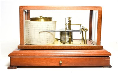 Lot 3072 - Rapport (London) Barograph in case with bevelled glass and single drawer