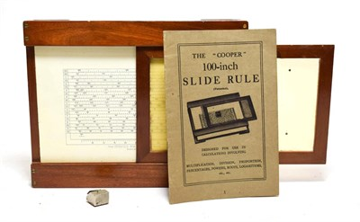 Lot 3075 - The Cooper 100-Inch Slide Rule with mahogany frame, with booklet in original card box