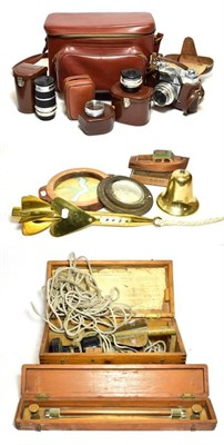Lot 3079 - Various Ship Related Items including T Walkers Harpoon Ship's Log, brass bell 'Winkworth'...
