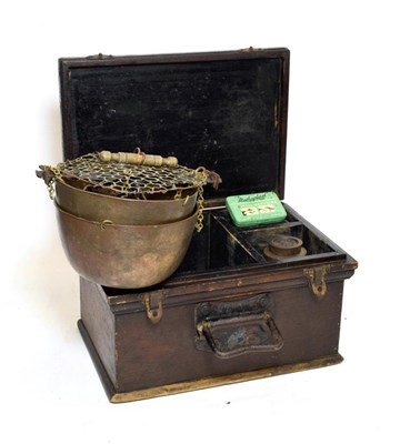 Lot 3082 - Beam Scales with two brass bowls and weights to 2lb by Avery in wooden box with brass plaque 'White