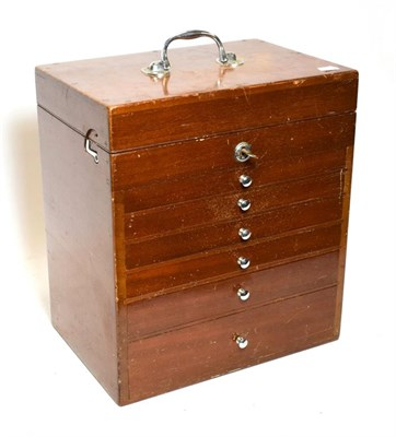 Lot 3083 - Dental Cabinet with six drawers and opening lid containing assorted instruments 13x15x9'',...