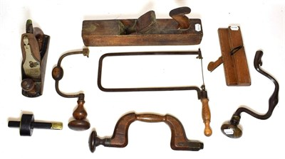Lot 3089 - Various Woodworking Tools including wooden brace stamped 'J Wooden', two metal braces, gauge scribe