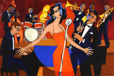 Lot 1038 - Marsha Hammel (b.1949) American ''S.Wonderful''  Signed, inscribed verso, acrylic on canvas,...