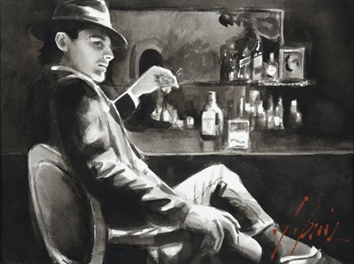 Lot 1015 - Fabian Perez (b.1967) Argentinean  ''Whiskey at Las Brujas V (With Cigarette)'' Signed,...