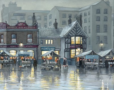 Lot 1060 - Steven Scholes (b.1952) ''Shudehill Old Books and Records Market, Manchester 1952'' Signed,...