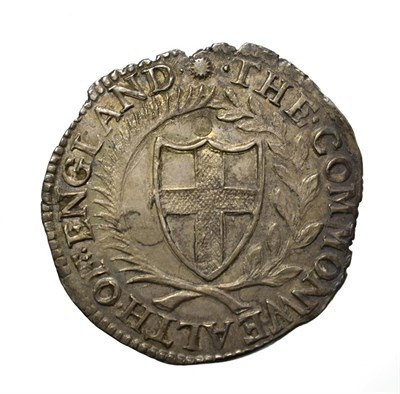 Lot 4003 - The Commonwealth, 1652 Shilling. 5.91g, 32.1mm, 9h. Obv: Shield with English arms. Rev: Shields...