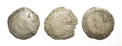 Lot 4004 - 3 x Charles I Shillings consisting of: 1638 - 1639 shilling. 6.19g, 30.5mm, 3h. Tower mint...