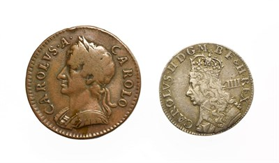 Lot 4008 - Charles II, 2 x Coins consisting of: Undated (1662) maundy groat. Obv: Crowned bust of Charles...