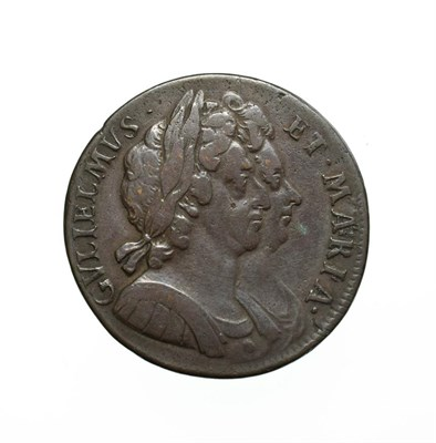 Lot 4012 - William and Mary, 1694 Halfpenny. Obv: Conjoined busts of William III and Mary right. Rev:...