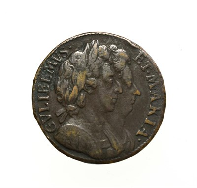 Lot 4013 - William and Mary, 1694 Farthing. Unbarred A's in Brittania error. Obv: Conjoined busts of...