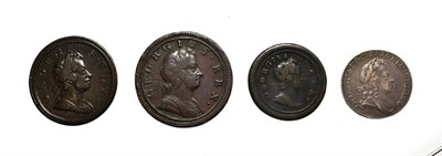 Lot 4018 - George I, A Collection of 4 x Coins consisting of: 1723 sixpence. Obv: Laureate and draped bust...