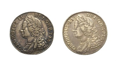 Lot 4019 - 2 x George II, Shillings, 1743, 1750. Obv: Laureate and draped bust left. Rev: Cruciform...