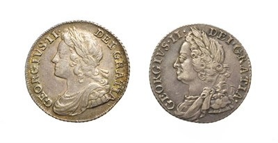 Lot 4021 - George II, 2 x Silver Shillings consisting of: 1739 Shilling. Obv: Laureate and draped bust of...