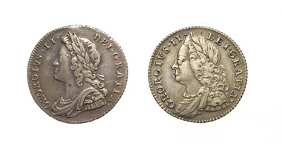 Lot 4022 - George II, 2 x Silver Sixpences consisting of: 1728 sixpence. Obv: Young laureate and draped...
