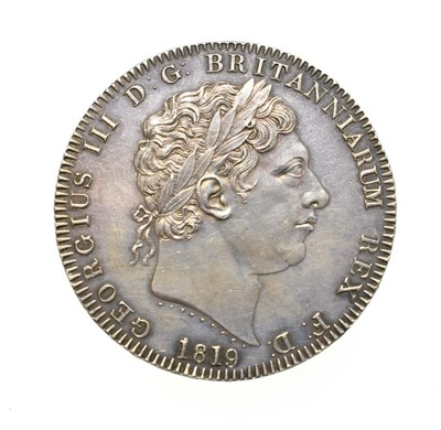 Lot 4024 - George III, 1819 Crown. Obv: Laureate head right, PISTRUCCI and date below truncation. Rev: St....