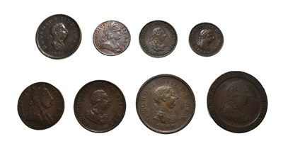 Lot 4025 - George III, A Collection of 8 x Copper Coins consisting of: 1797 ''cartwheel'' penny. Soho...