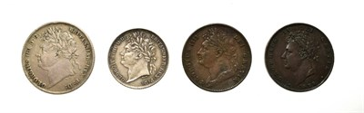 Lot 4029 - George IV, A Group of 4 x Coins consisting of: 1824 shilling. Obv: Laureate head of George IV left.