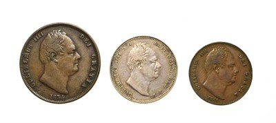Lot 4031 - William IV, A Collection of 3 x Coins consisting of: 1834 shilling. Obv: Bare head of William...