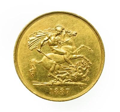 Lot 4033 - Victoria, 1887 Five Pounds. Obv: Jubilee head of Victoria left, J.E.B. on truncation for...