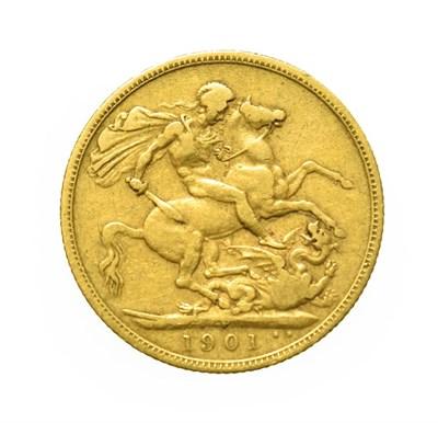 Lot 4035 - Victoria, 1901 P Perth Mint Sovereign. Obv: Old, veiled head of Victoria left, T.B. below...