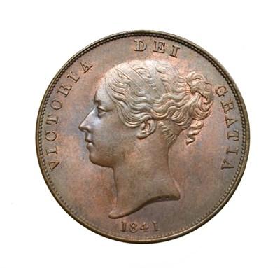 Lot 4036 - Victoria, 1841 Penny. Obv: Young head left, W.W. on truncation, 1841 below. Rev: Britannia...